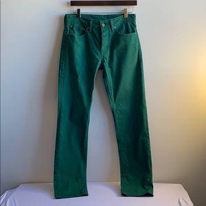 High Waisted Green Levi 511 Pants 31 x 32